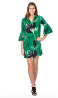 green polyester dress with double ruffle 3/4 sleeve, v-neck and white navy and black leaf prints