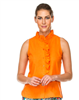 Women's orange sleeveless top with ruffle neck