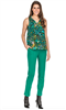 jade Melody Tam Women's 29 inch inseam flat front green point knit pants