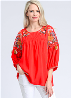 red embroidered top with 3/4 puff sleeve
