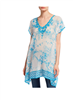 Johnny Was Muzuko Tunic is a ladies long rayon tunic with scalloped hem and short sleeves