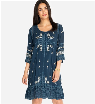 Johnny Was Bisous 3/4 sleeve dress with embroidery and slip included