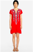 red linen tunic dress with embroidery on the front