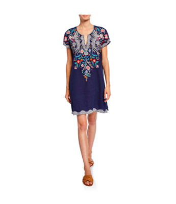 Johnny Was Bisous Easy Long Tunic. Ladies navy linen dress with short sleeves and embroidery.