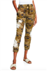 ladies camo linen jogger pants with cream embroidery and buttons at the ankle