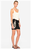 black linen drawstring waist shorts with off white embroidery