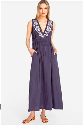ladies long cotton gauze sleeveless dress in grey with white embroidery at the v-neckline
