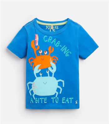 blue short sleeve toddler t-shirt with crabs on the front
