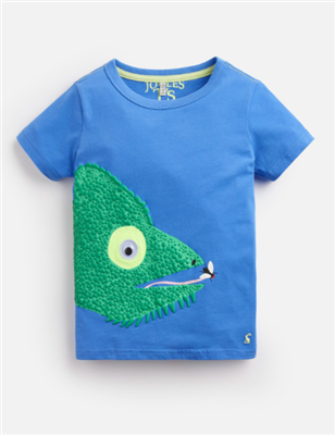 blue short sleeve toddler t-shirt with a chameleon on the front