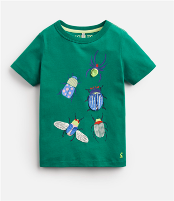 green short sleeve toddler t-shirt with bugs on the front