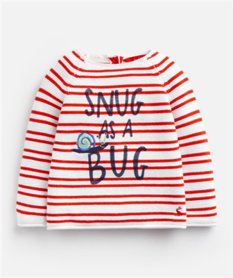 baby red and white stripe cotton sweater that says sung as a bug