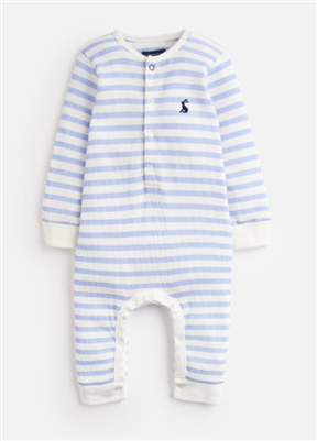 sky blue and cream stripe cotton button front baby onesie