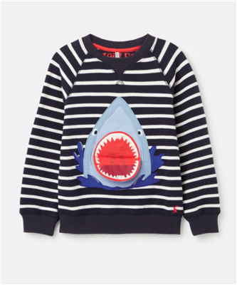 navy stripe long sleeve toddler sweatshirt with shark appliqué
