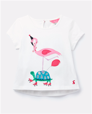 Toddler girls short sleeve white cotton t-shirt from flamingo