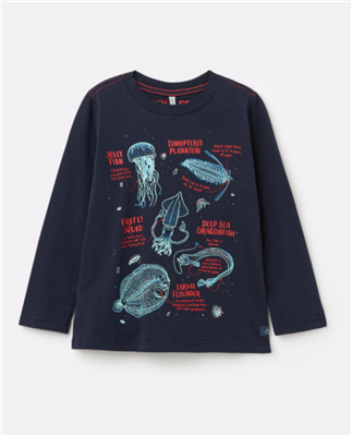 navy long sleeve toddler t-shirt with glow in the dark sea creatures on the front