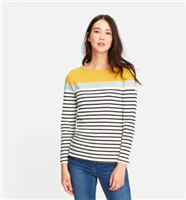 cotton long sleeve top with grey and yellow stripes
