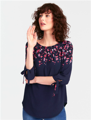 ladies 3/4 sleeve navy floral top