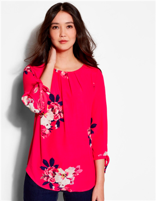 ladies 3/4 sleeve raspberry floral top