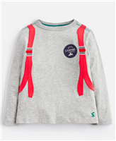grey long sleeve toddler t-shirt that has backpack graphic on the back