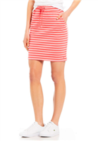 ladies cotton knit skirt with red and white stripes with pockets and a drawstring waist