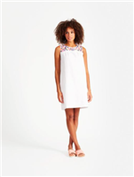 white cotton midi dress with embroidery detail at the yoke