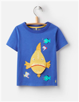 blue cotton tee with piranha fish on it