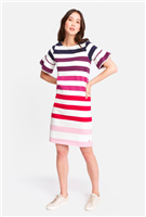 ladies cream dress with wide purple stripes and short ruffle sleeves