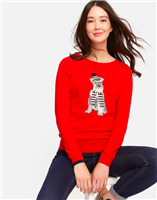 ladies red cotton sweater with red terrier dog