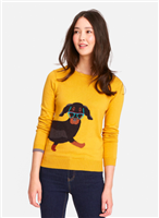 ladies red cotton sweater with ochre sausage dog