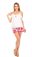 pull on shorts in a floral pattern