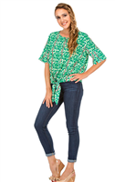 Short sleeve top with a tie from in a green leaf print