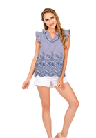 blue and white stripe top with blue embroidery and a ruffle short sleeve and v-neck