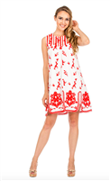 white and red embroidered yoked dress