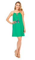 green racer back cotton/poly dress with braided tie with pom pom details