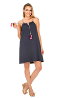 navy race back cotton/poly dress with braided tie with pom pom details