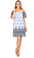 Blue and white off the shoulder embroidered dress