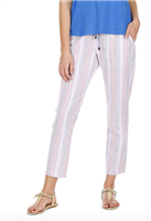 stripe pull on pants with elastic waist with drawstring