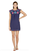 navy  short sleeve embroidered cotton dress
