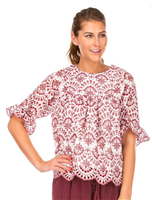 ladies half sleeve white eyelet top with maroon embroidery