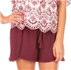 ladies maroon pull on shorts