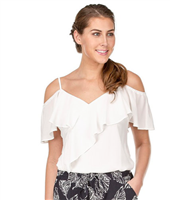 ladies off white top with adjustable spaghetti straps and off the shoulder