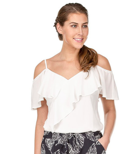 9e29e6702fdba ladies off white top with adjustable spaghetti straps and off the shoulder