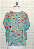 ladies short sleeve jade floral top