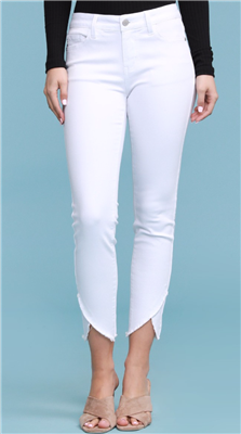 Ladies white skinny jeans. with tulip hem