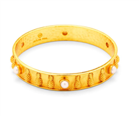 gold bangle with pineapples and pearl details