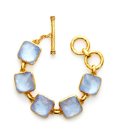 24K gold plate faceted chalcedony toggle bracelet
