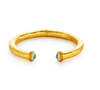 24K gold plate hammered hinged bracelet with aquamarine blue stones on the ends