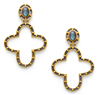 mixed metal pierced earrings with a Labradorite stud and a large quatrefoil drop that measures 2 inches