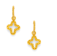 gold wire earrings quatrefoil with raised bead work