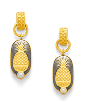 reversible ladies gold earrings with carved pineapple and a small freshwater pearl